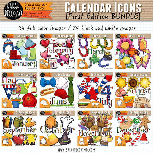 Monthly Icons Clip Art {First Edition}