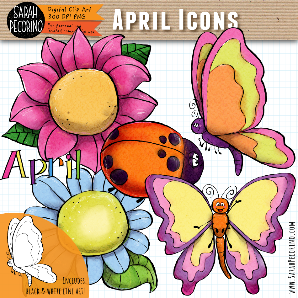 April Icons Clip Art {First Edition}