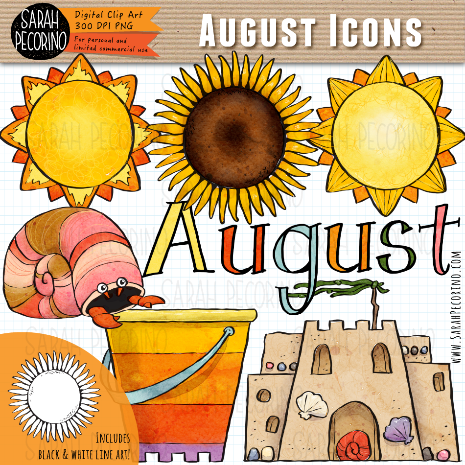 August Icons Clip Art {First Edition}