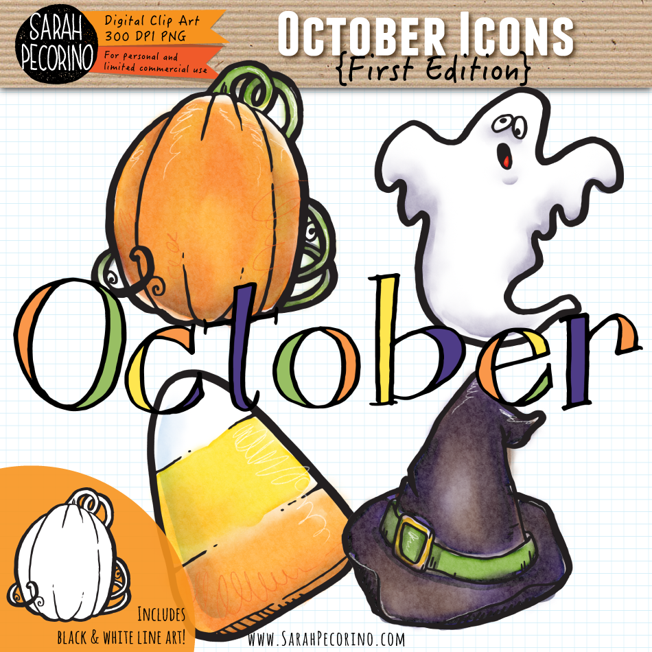 October Icons Clip Art {First Edition}