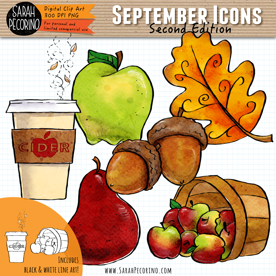September Icons Clip Art {Second Edition}