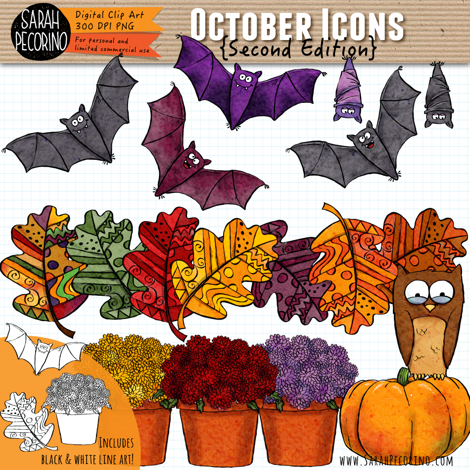 October Icons Clip Art {Second Edition}