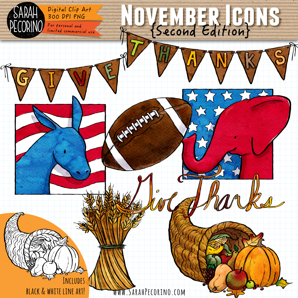 November Icons Clip Art {Second Edition}