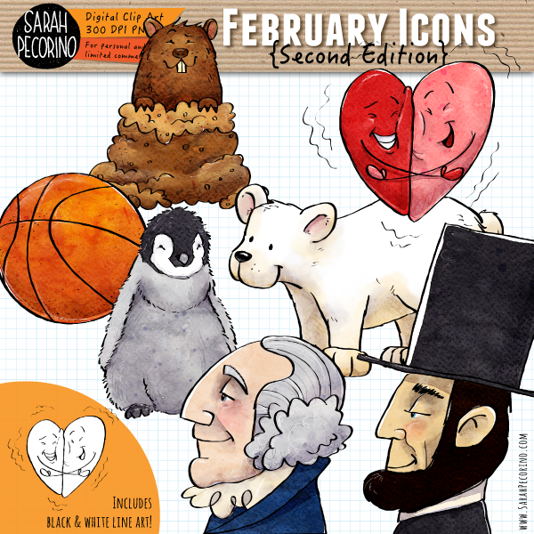 February Icons Clip Art {Second Edition}