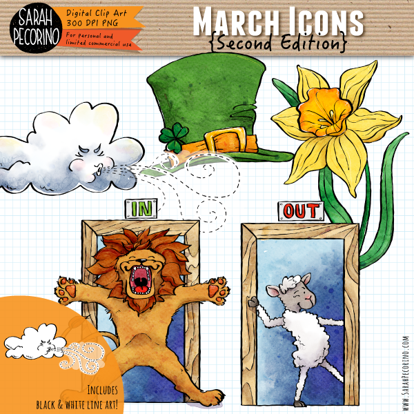 March Icons Clip Art {Second Edition}