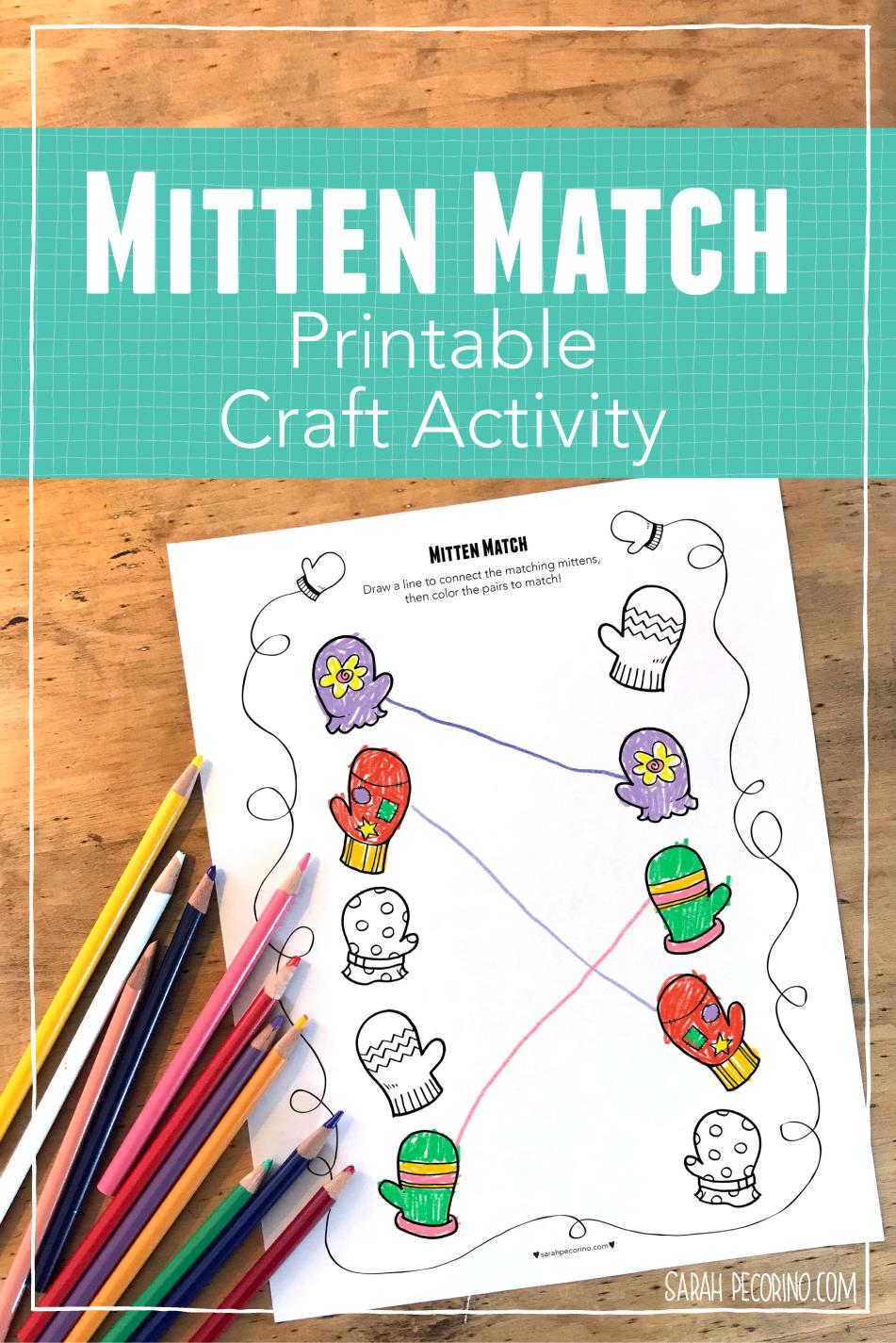 Sarah Pecorino Mitten Match Printable Activity Page great for preschoolers