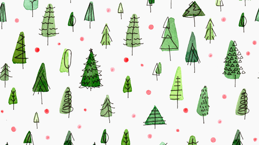 Watercolor illustration Christmas Forest