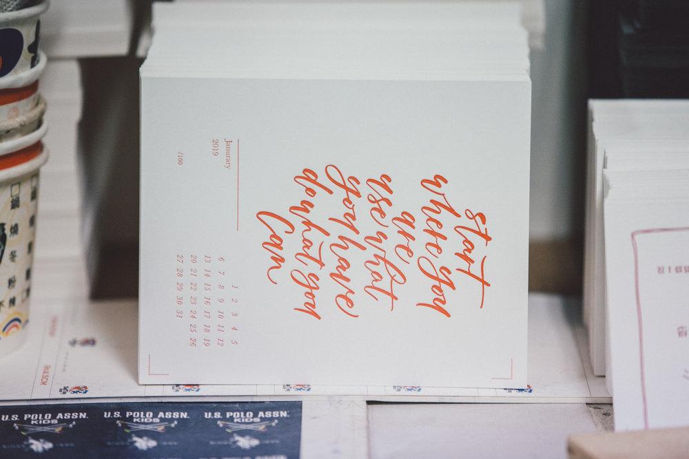 凸版印刷-英文手寫字-letterpress-hand lettering