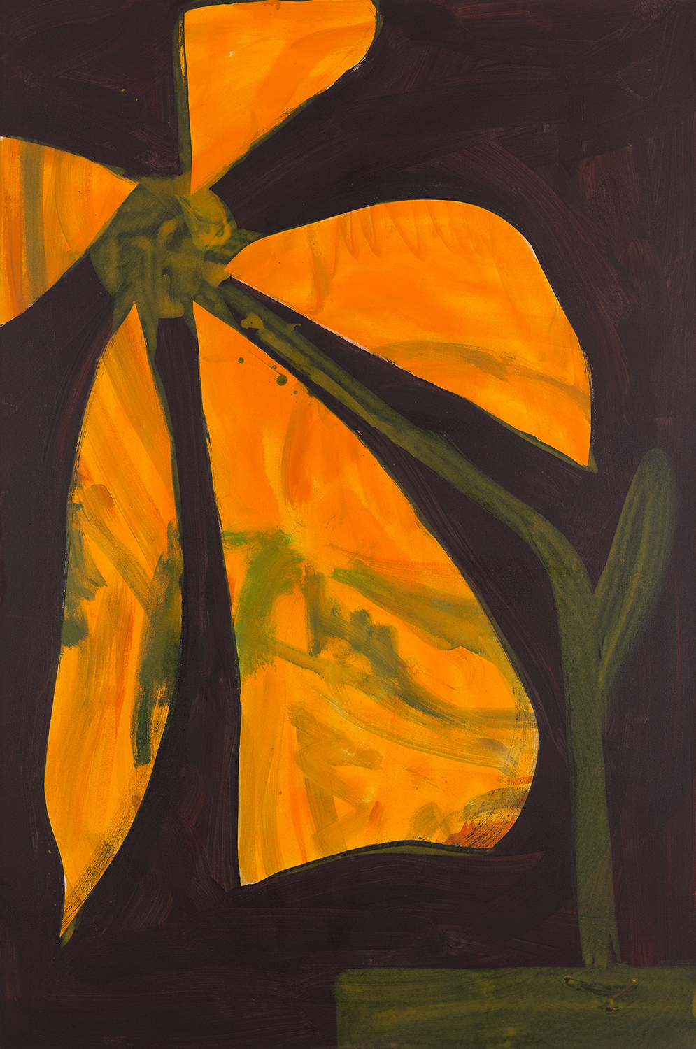 flower, orange, green, dark violett/black, 2011 - 2015
