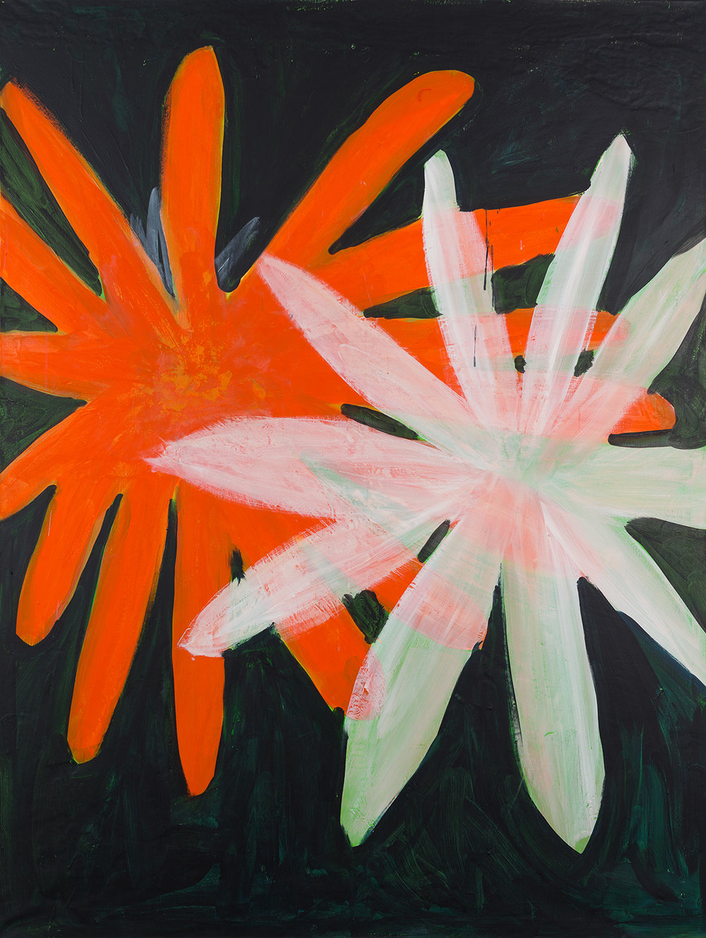 big flowers, orange , white, 2014