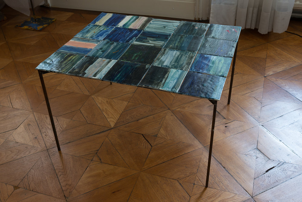 table with painted tiles, around 2008