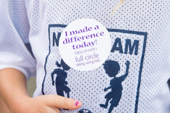 "A child's ""I made a difference today!"" sticker from Full Circle"