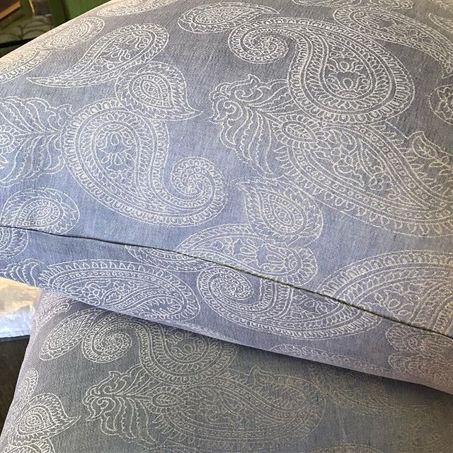 Sneak peek of the amazing @leitnerleinen bedding we're installing tomorrow! It's linen-paisley-chambray perfection! Stay tuned for more!!! #turndownservice