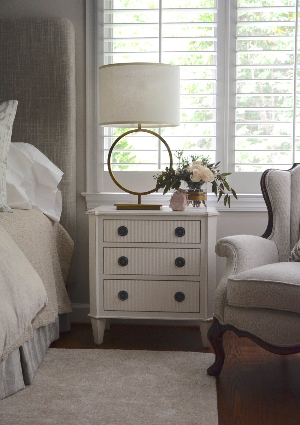 "Sentimental chair reupholstery, updated nightstands and table lamps, turndown swag bag in our client ""Turning-down for an Update"" in McLean, VA. Turndown Service and Design by Valerianne of DC."