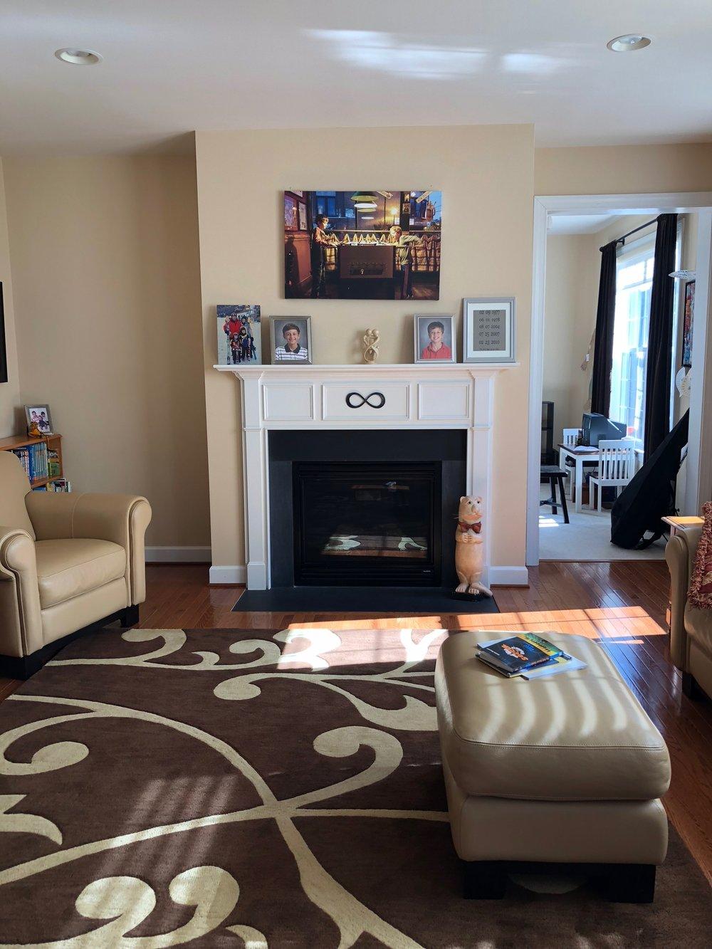 Before, Client First Floor Refresh's Family Room in Herndon, VA.