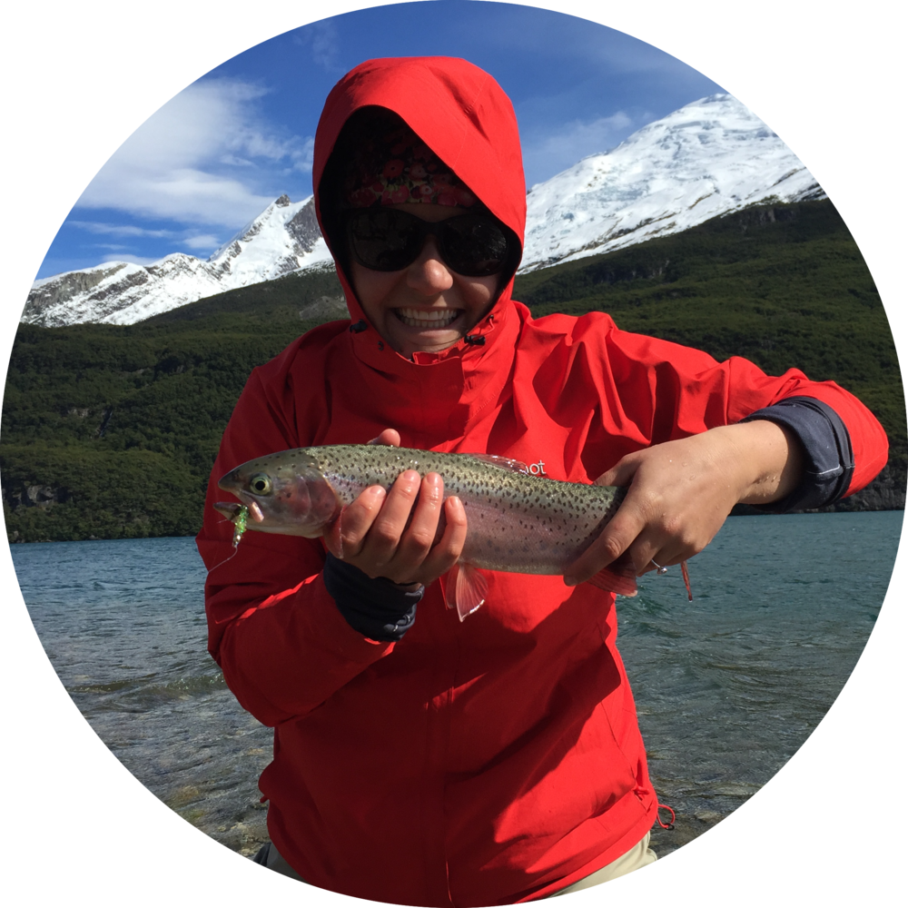 Pathways Active Travel Founder Sarah Marston fly fishing in patagonia argentina
