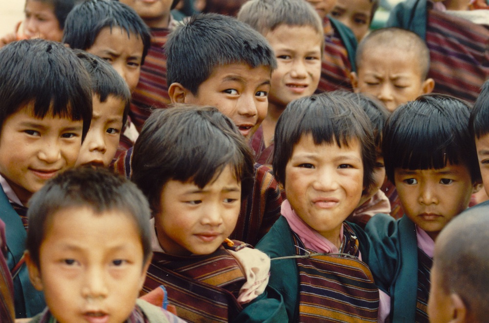 Northern Bhutanese school children.  Schools were targeted with government materials taking against the so-called Southern Bhutanese 'anti-nationals' involved in the 1990 pro-democracy demonstrations.