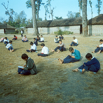 When there is no space in the classrooms we carry on learning outside.    Prem / PhotoVoice / LWF