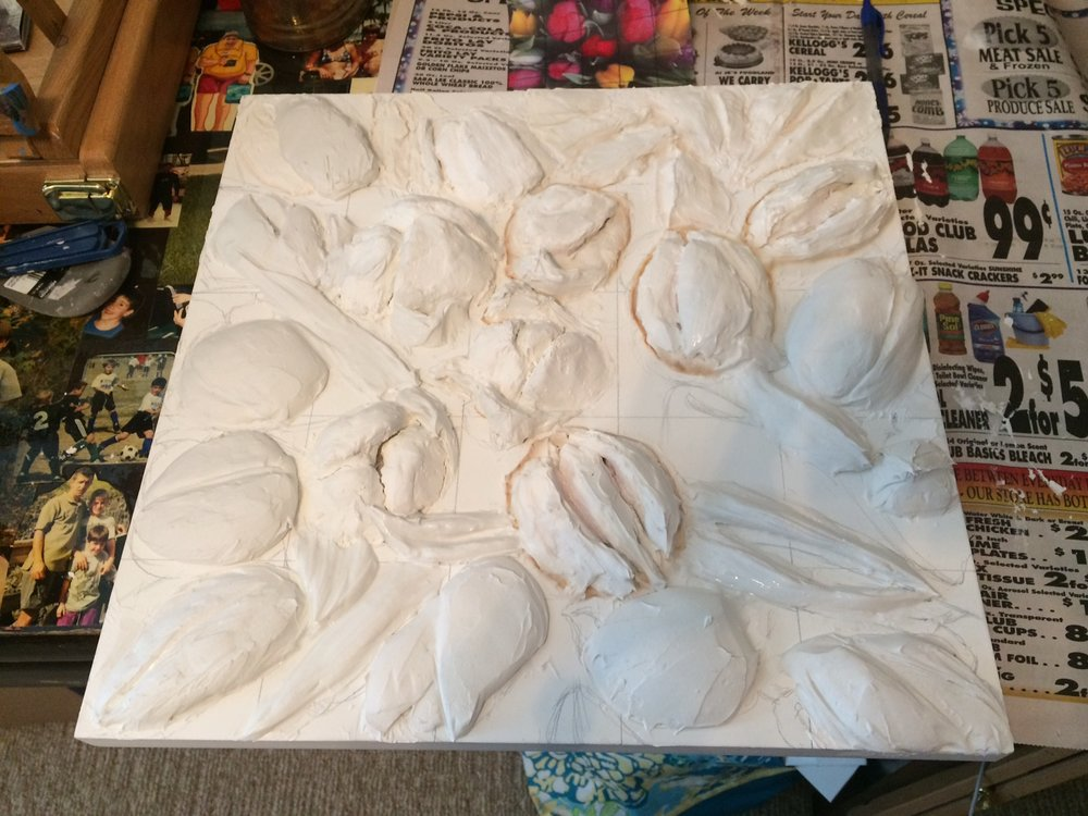 Almost ready for painting.  Need to add more details and leaves after this layer is completely dry. I use two types of joint compound: one is very spongy and harder to sculpt; one is more the consistency of modeling paste. So far only minor cracking as it dries.