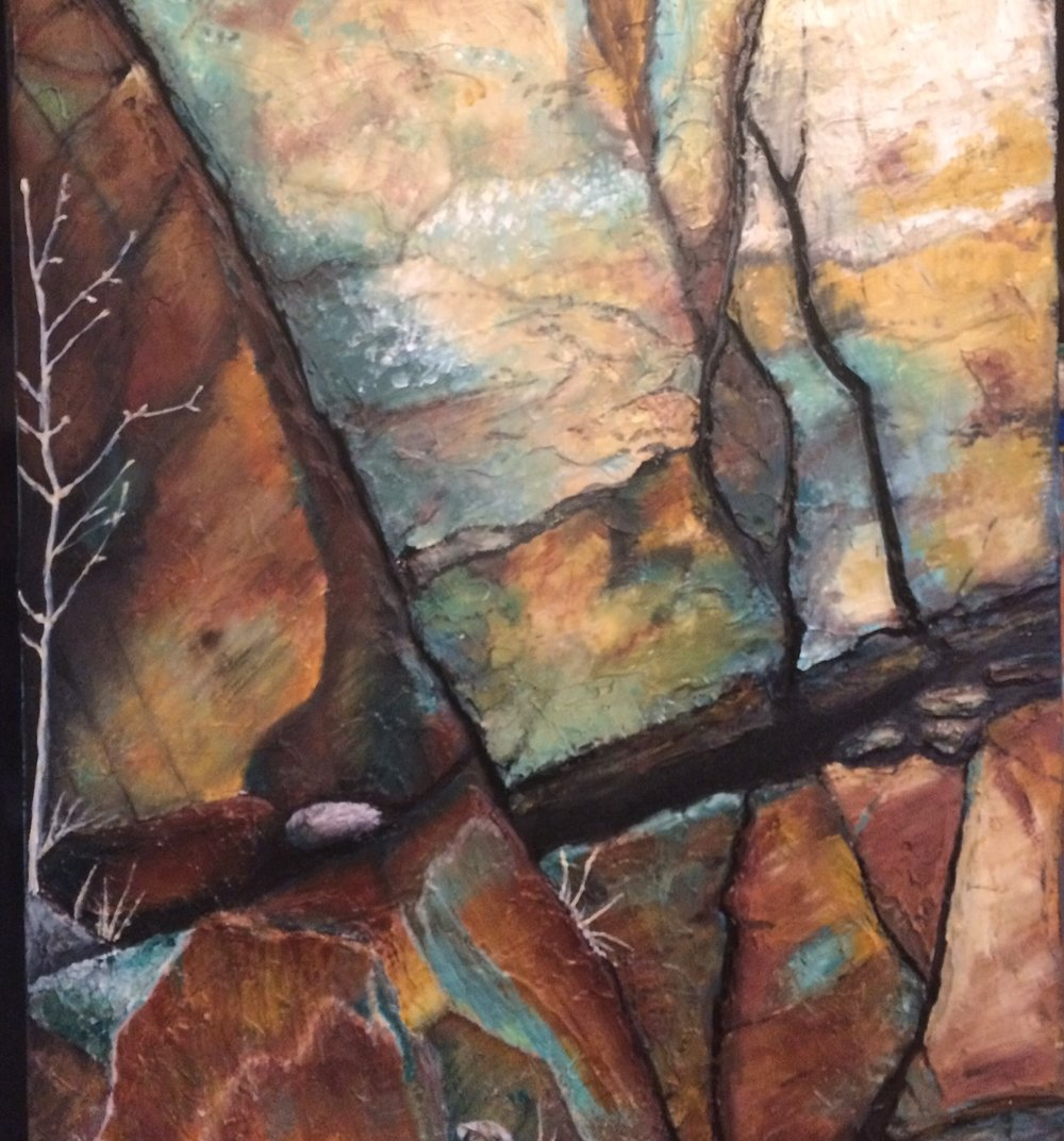 Finish painting.  Accentuate tree to show perspective of cliff side.
