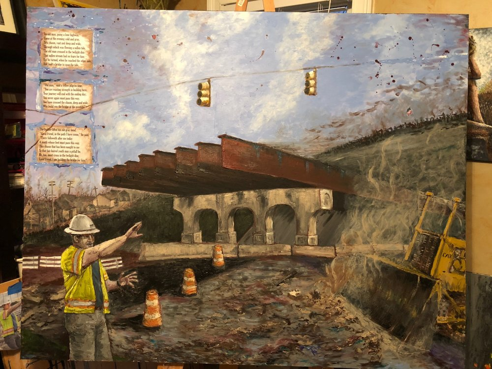 Added The Bridge Builder poem by Will Allen Dromgoole and civil war artifacts in rubble