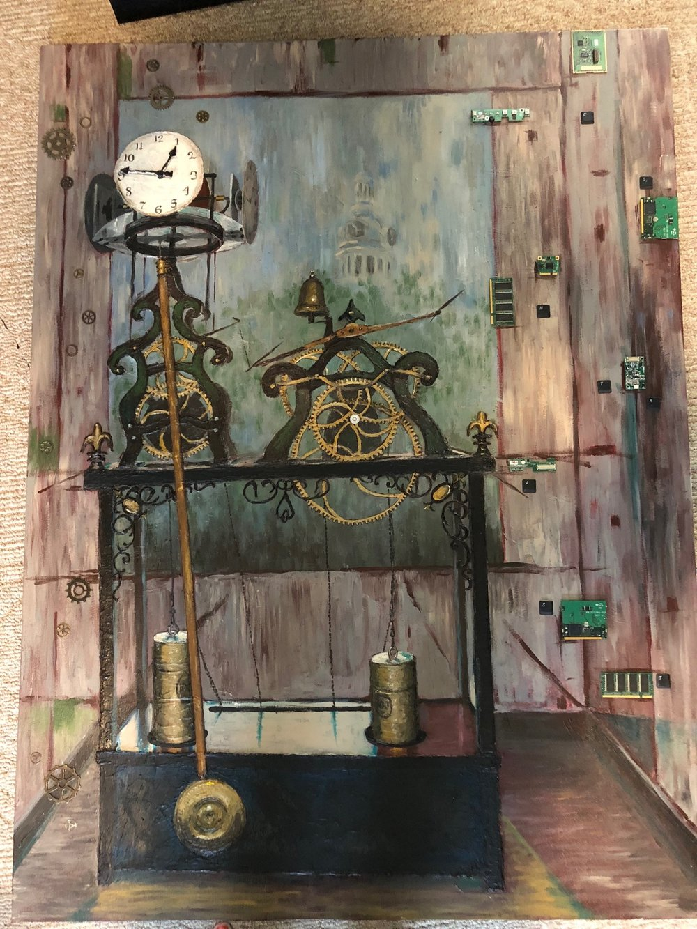 Sculptural Painting Clock Tower