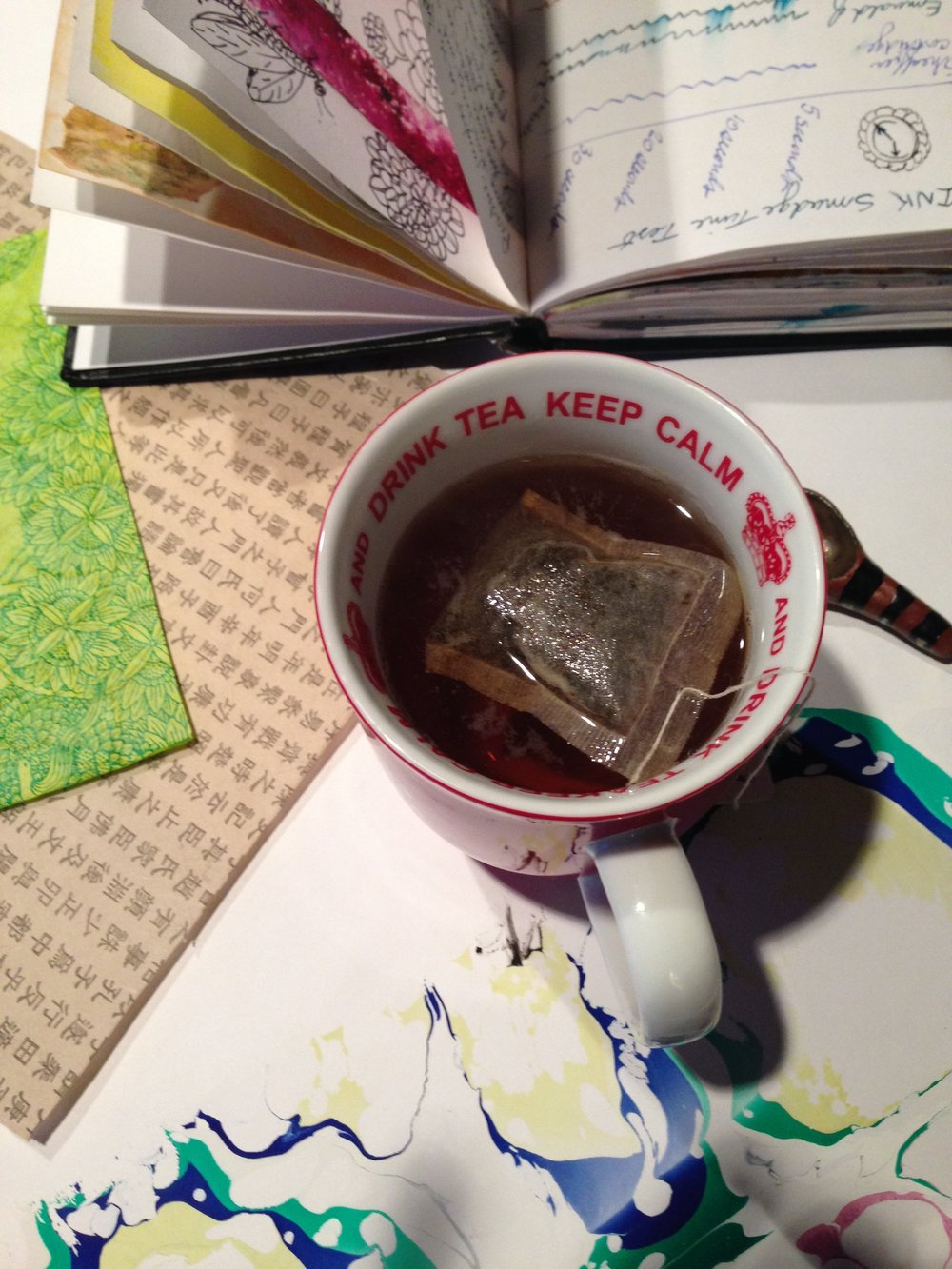 When my art practice is stalled, going back to basics: sitting with tea, working small in my journal with familiar materials gets me back to my balance spot.