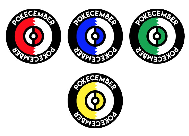 Pokecember Logo and Variants by @Moshbitco   In seeking the perfect balance of unique style and familiar look, artist Michael Brooks Chandler turned to the original Japanese 'Pocket Monster' logo designs. The variant colors of Green, Blue, and Yellow were presented as homage to the 5 original Pokémon games, but Red was used as the official logo.   Twitter    Patreon    Newgrounds
