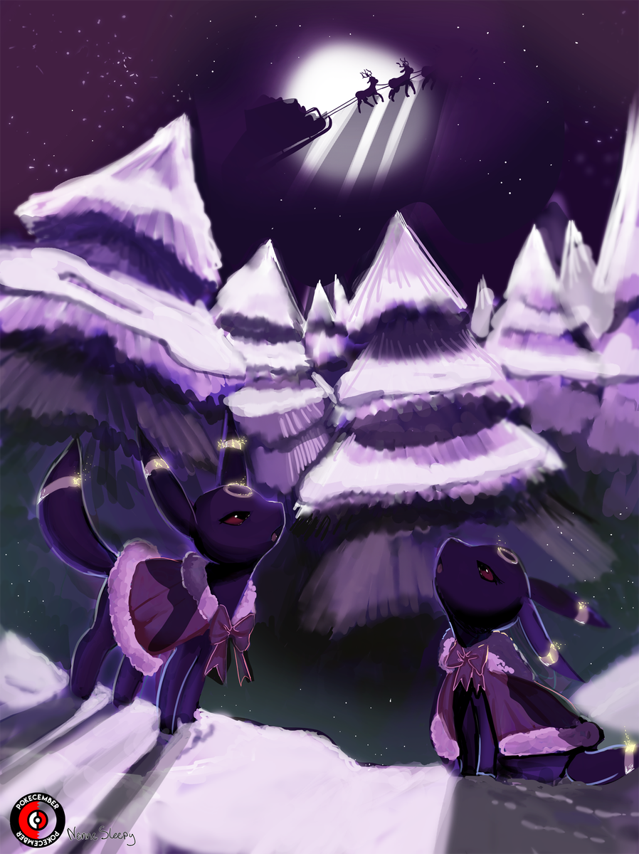 @Nennesleepy   Using a cold color scheme, Nennesleepy brings a serene moment to life as she depicts two Umbreon looking skyward. Notice the painterly backgrounds in juxtaposition from her beautifully detailed figuring. A simple zoom in will show the ornateness of Nenne's work; from the glowing of the Umbreon's markings to the ruffles in the fabric of their coats.   Twitter    Youtube