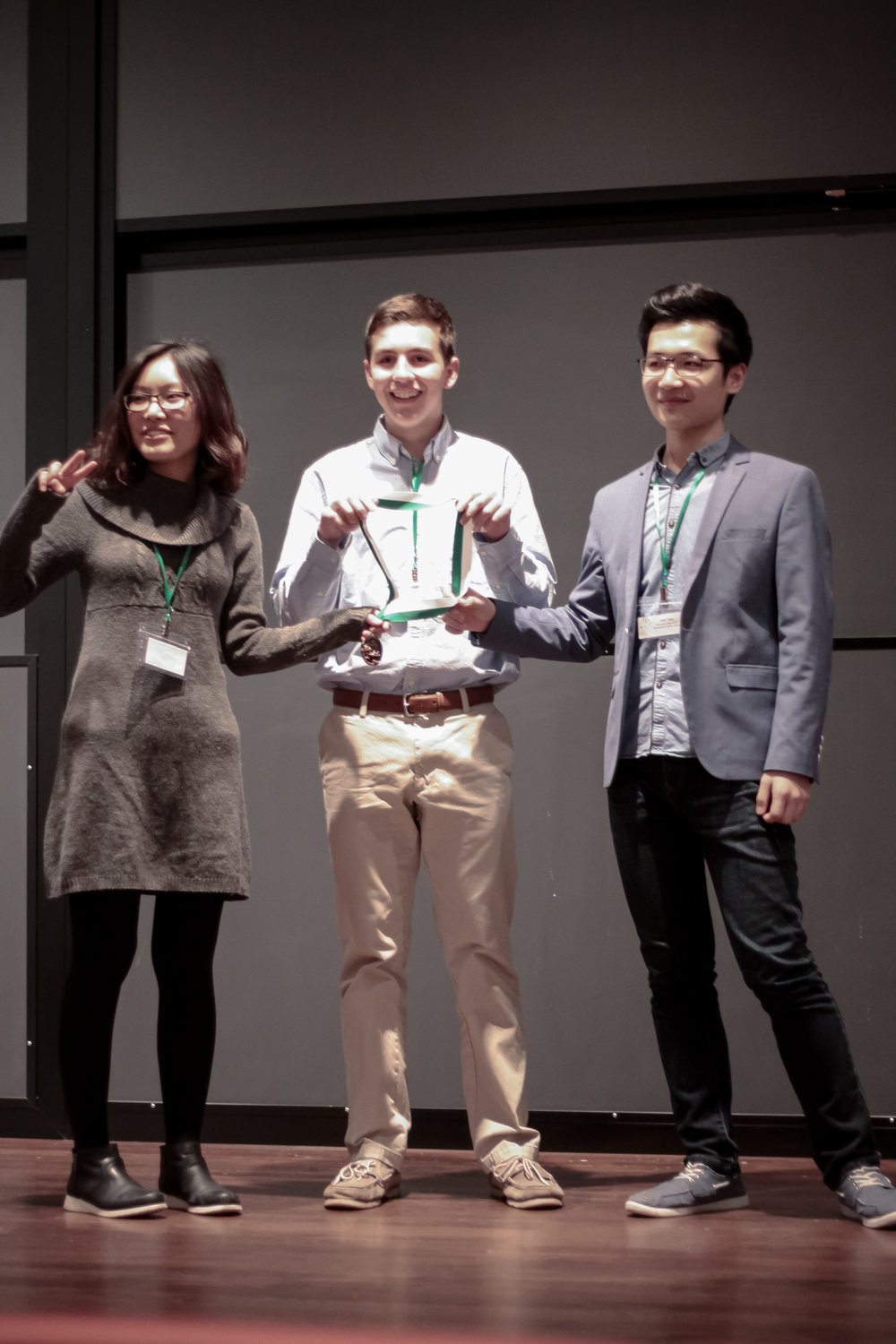 "3rd Place Renewable Roadblocks    ZIYU WANG, ALEXANDER BARRETT, ANDY PANG   Moorestown Friends School   The ""Curvature-Driven Motion"" Team placed with their presentation on hydroelectric power.  Check out their winning presentation here!"