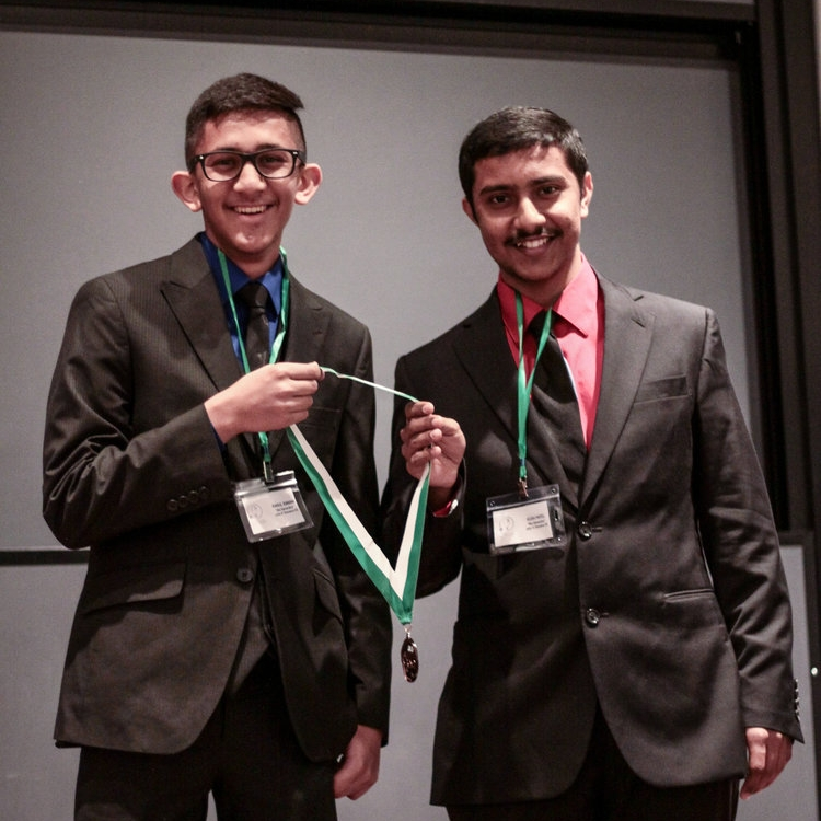 "3rd Place Free Choice    RAHUL KANANI & KUSH PATEL   John P. Stevens High School   ""The Bio-Generators"" placed with their presentation on co-digestion of sewage and food waste for biogas harvesting."