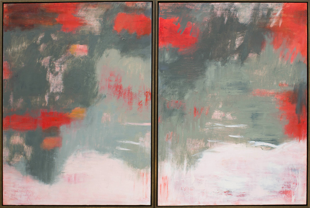"Diptych:  ""Think it Over"", oil on canvas, 40"" x 60"""
