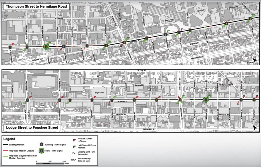 Proposed Left Turns - Thompson St to Foushee St