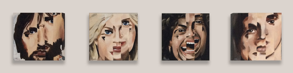 "4 Faces  •  Each 8"" x 8"" x 1.5""  •  Fragmented portraits with expressive personalities."