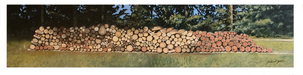 "Getting Ready For Winter  •  Acrylic on wood panel  •  8.5"" x 38""."
