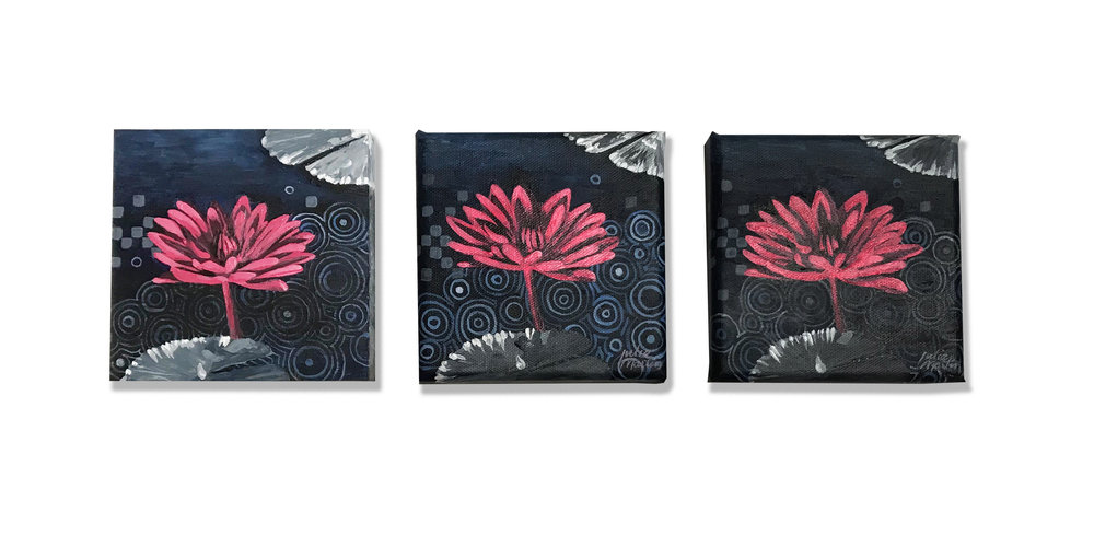 "Small Water Lilies at Night  •  Acrylic on Wood Panel, and Acrylic on Canvas  •  5"" x 5"""