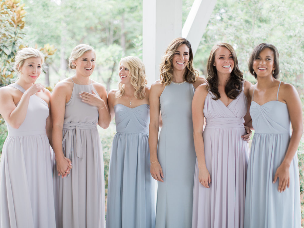 Stunning light gray mismatched bridesmaids dresses