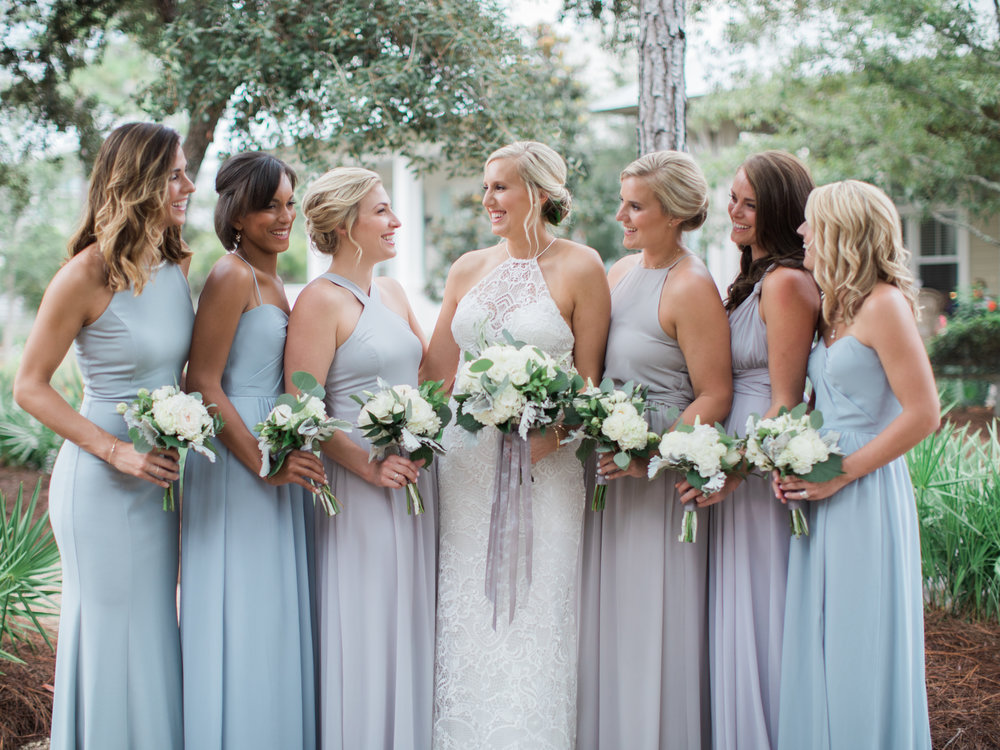 Mismatched light gray bridesmaid dresses