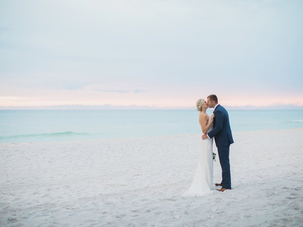 Bride and Groom on Seaside Beach