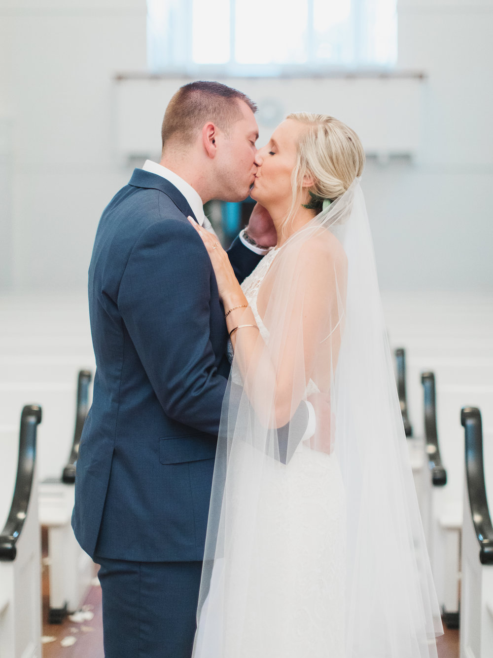 Seaside Chapel Wedding Kiss