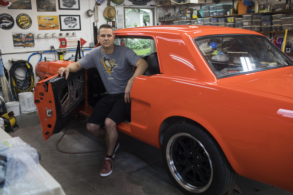 Stilwell says working on his 1965 Ford Mustang and playing drums has been an important outlets for his healing.