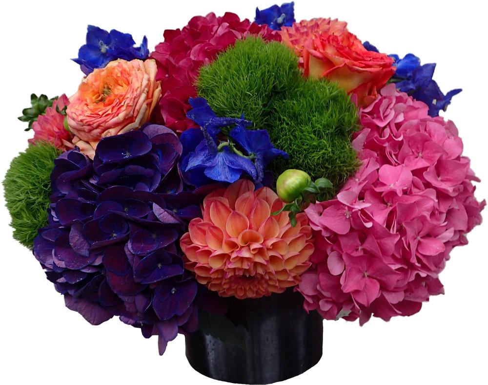 Vibrant hydrangea and dahlias starts at $300