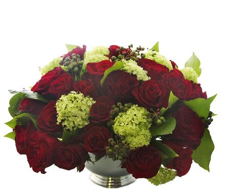 Red Rose and Viburnum Comp starts at $250
