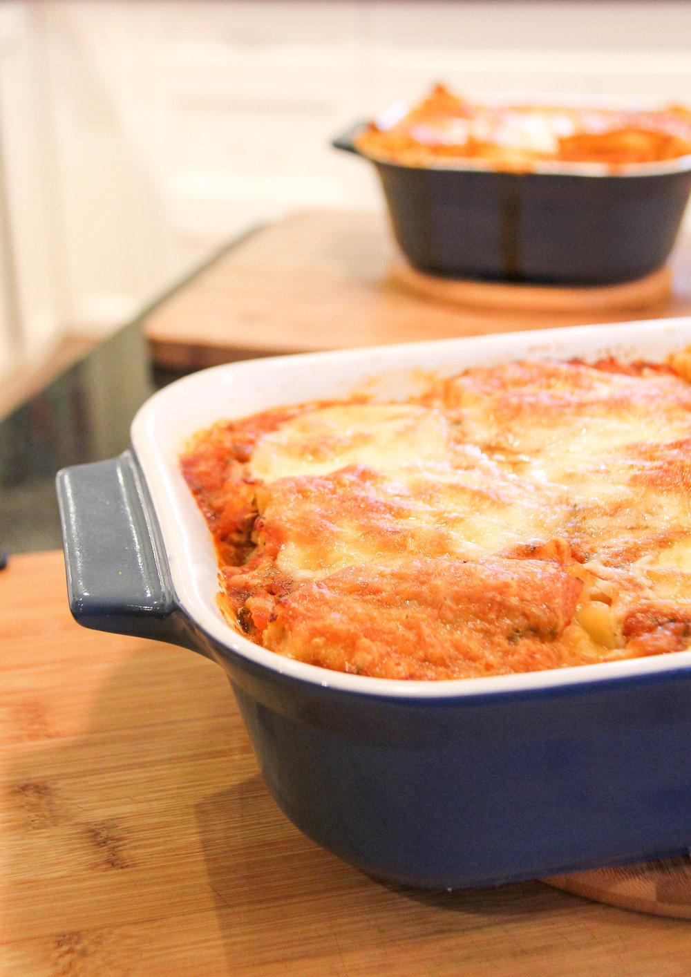 Top pan - traditional layers, bottom pan - roll ups