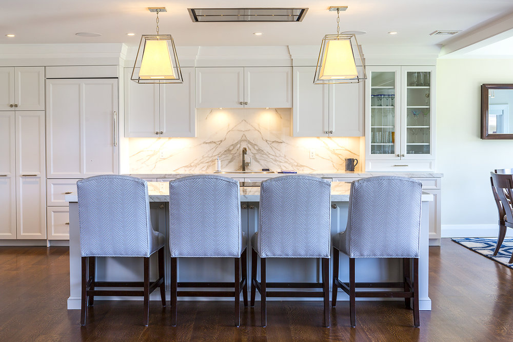 Transitional Kitchen remodel with large island in Greenwich CT