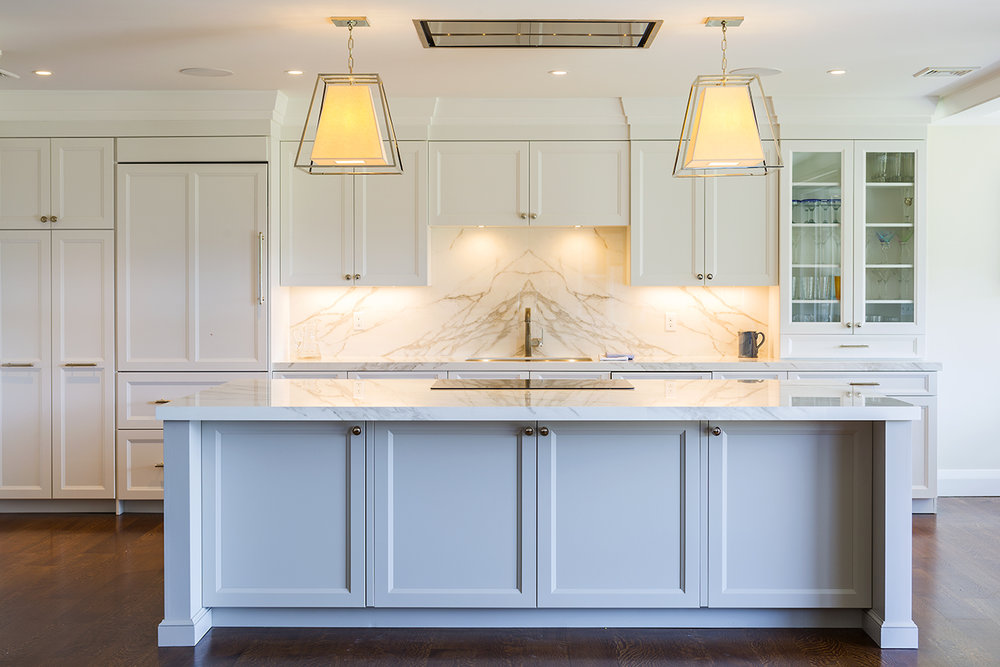 transitional kitchen large neolith marble-like island greenwich ct