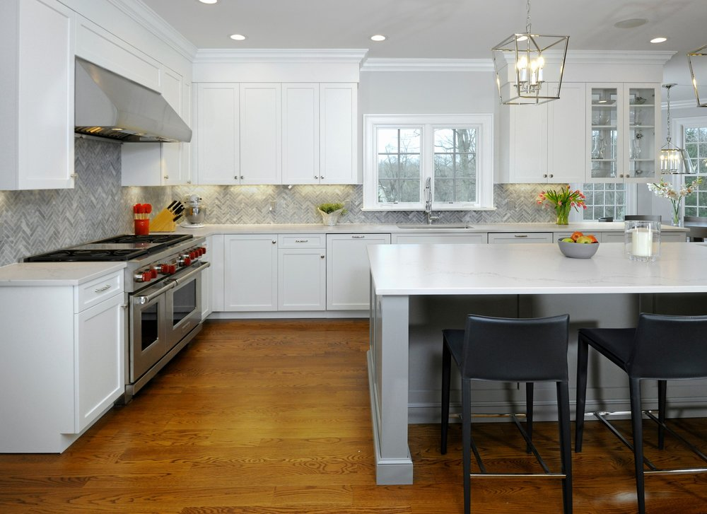 Transitional white & gray kitchen, New Canaan, Connecticut