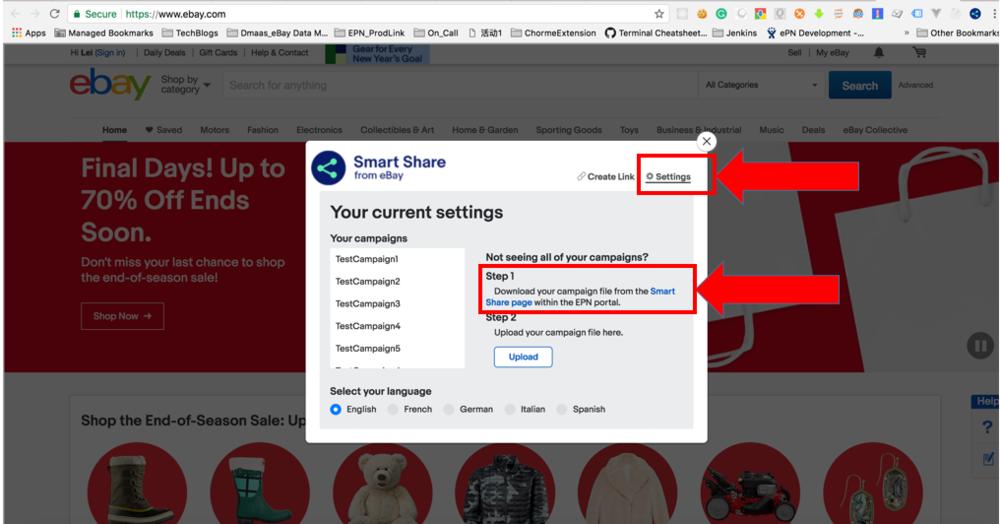 Capture d'écran montrant les deux options permettant d'accéder aux paramètres Smart Share.