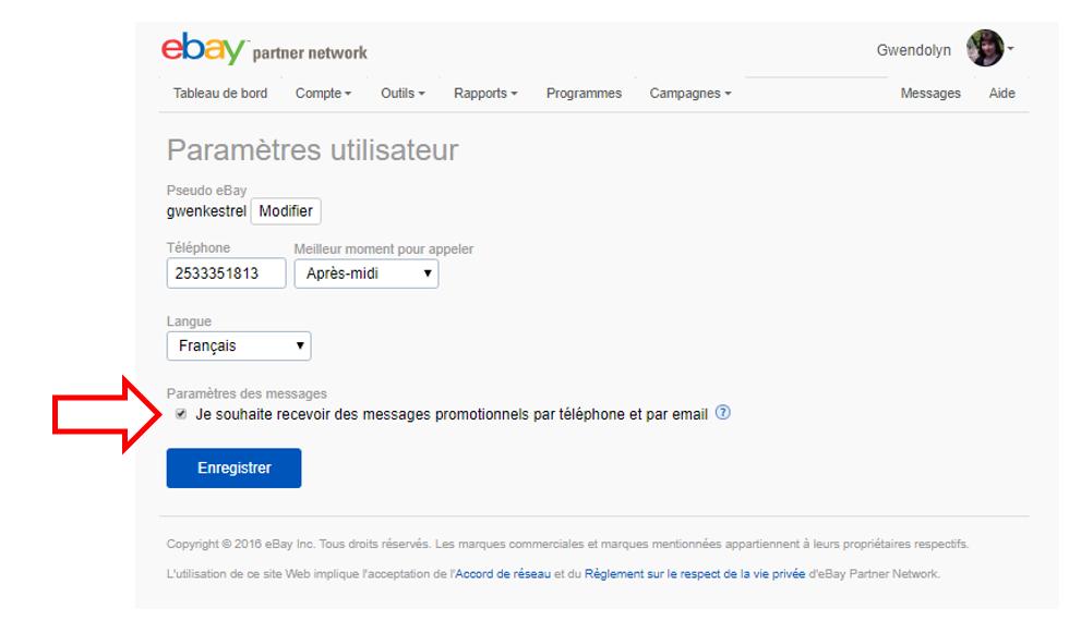 Capture d'écran d'un compte EPN avec la case à décocher pour se désinscrire.]