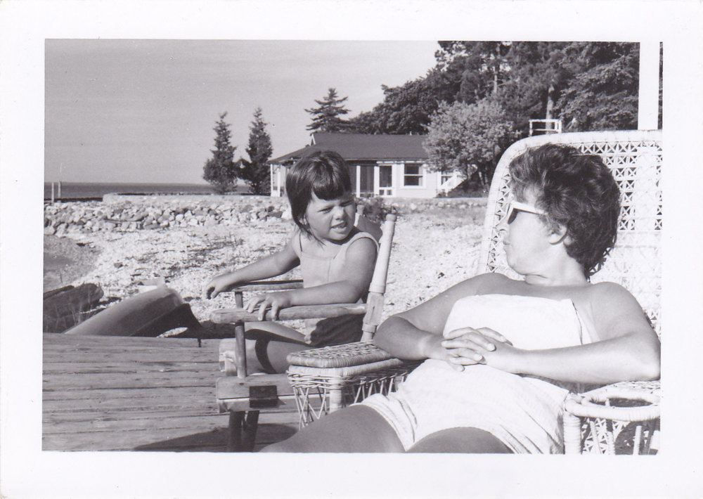 Lee's mom with her mom, Grandma Barb, on the Pointe Aux Pins beach on Bois Blanc Island.